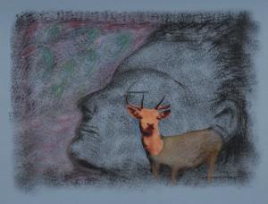 Le chamois - 65 x 50 cm - technique mioxte