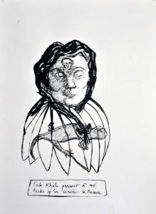 """""""Frida Khalo pensant à moi tandis qu'un caméléon la traverse"""" 47 x 32 cm"""